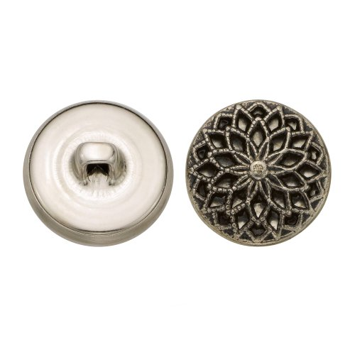 C&C Metal Products 5353 Filigree Metal Button, Size 30 Ligne, Antique Nickel, 36-Pack by C&C Metal Products Corp