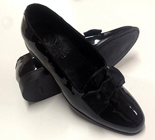 scarpe uomo classiche, modello slippers, mocassino slip-on in vernice con fiocco