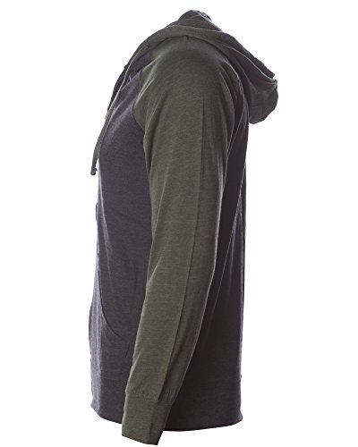 Global Blank Lightweight T-Shirt Material Raglan Zip up Hoodie with Pockets Charcoal/Army M by Global Blank (Image #5)