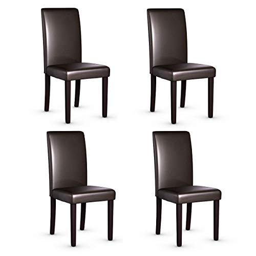 Giantex Set of 4 Upholstered Dining Chairs Set W/PU Leather Ergonomic Design Stable Frame Wear and Resistant Cover, Back Size 14.5