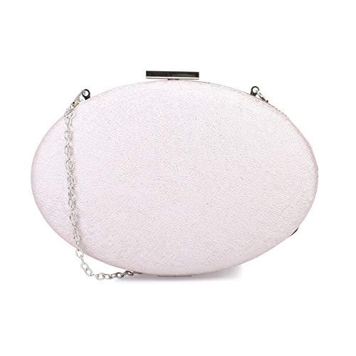 Modeuse Pochette un avec rigide La ovale scintillant texturé Rose effet PdWAxa