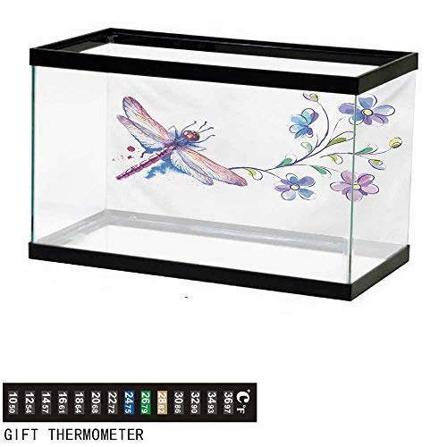 - wwwhsl Aquarium Background,Dragonfly,Watercolor Bug Butterfly Like Moth with Branch Ivy Flowers Lilies Art,Green Purple and Blue Fish Tank Backdrop 30