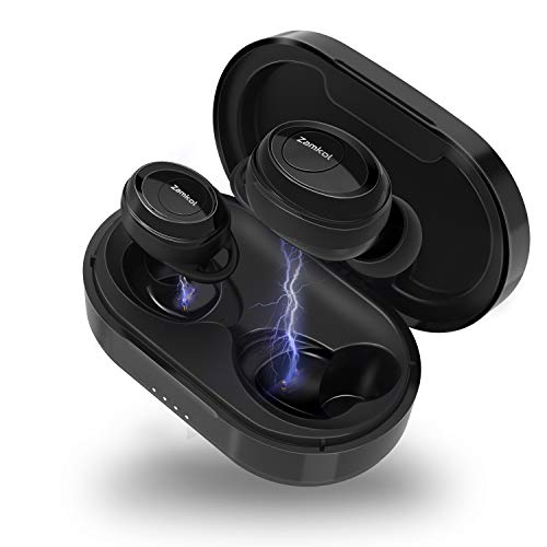 True Wireless Earbuds with Magic HiFi Sound, Zamkol Waterproof 5.0 Bluetooth Earbuds with Charging Case and Microphone, Pumping Bass, One Step Pairing, Stereo Calls for Sport, Commuting, Black