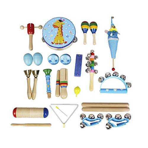 SUPVOX 22 in 1 Musical Toy kit Sand Egg Wrist Bell Triangular Iron Pull Doll Castanet Finger Cymbals for Children Kids (Blue)