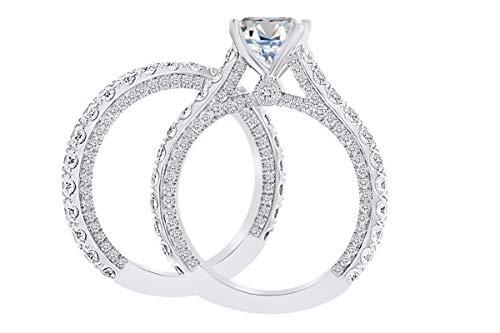 - 2.35 Carat Round Shape White Natural Diamond Semi Mount Wedding Engagement Ring Set 18K Solid White Gold Ring Size-7