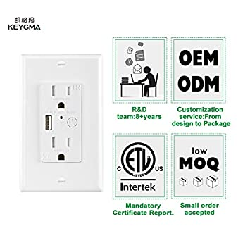 Tuya APP Smart WiFi USB In-Wall Oulet Socket, 5V 2.4A USB Charger Outlet, Amazon Alexa Google Home Supported, ETL FCC Listed
