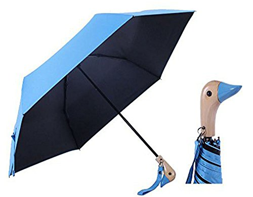 Duck Head Wood Handle Umbrella,UV 50+ Shade Rain Shine Folding Travel Umbrella Duck Umbrella