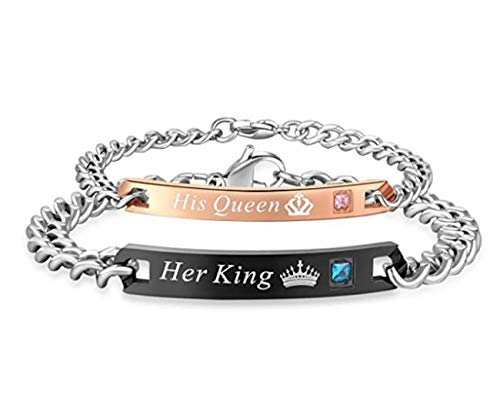 His Queen Her King Stainless Steel Chain Bracelet - Couple Matching Bracelets Jewelry Gifts Men Women