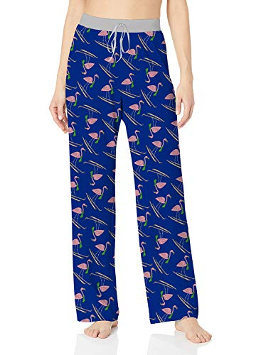 (ALISISTER Pajama Pants for Women Plus Size Maternity Lounge Bottoms Flamingo Yoga Pants Blue with Elastic Drawstring Home Sleepwear XXL)