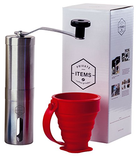 Cofee Grinder Manual + [TRAVEL CUPS, CASE WITH TIES, 2 VACUUM BAGS] - Stainless Steel with Adjustable Ceramic Burr - Aeropress Compatible - Perfect for Traveling - Gift Box (Scale Model Addict compare prices)