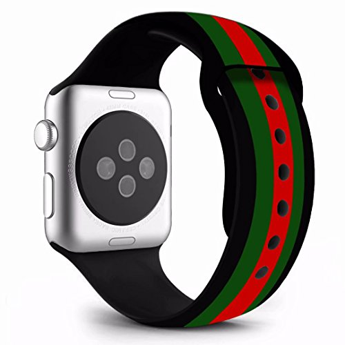 Chumei Sporty Band Compatible with Apple Watch, Soft Silicone Replacement Wristband Strap Band for iWatch Series 1 Series 2 Series 3 Series 4 (42MM/44MM M/L Black/Green/Red)