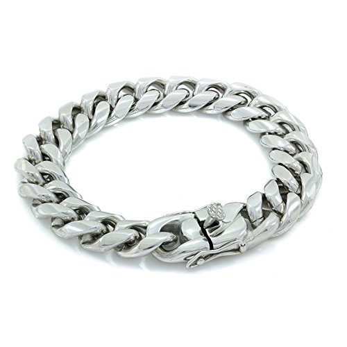 Bling Bling NY Solid Silver Finish Stainless Steel 16mm Thick Miami Cuban Link Chain Box Clasp Lock (Bracelet 8'')
