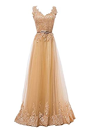 Fanhao Womens Sequined Plume Belt Lace-up Gold Long Vestidos Evening Prom Dress