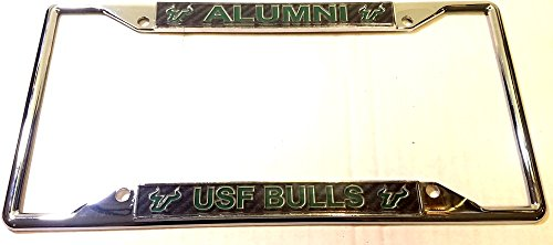 Chrome License Plate Frame USF South Florida Bulls Alumni Carbon Acrylic Inserts