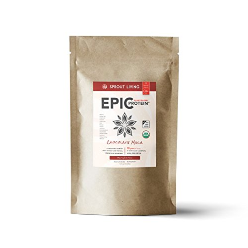 Sprout Living Epic Protein Powder, Chocolate Maca Flavor, Organic Plant Protein, No Additives, Gluten Free, 19 Grams Clean Vegan Protein 5 pounds, 65 Servings