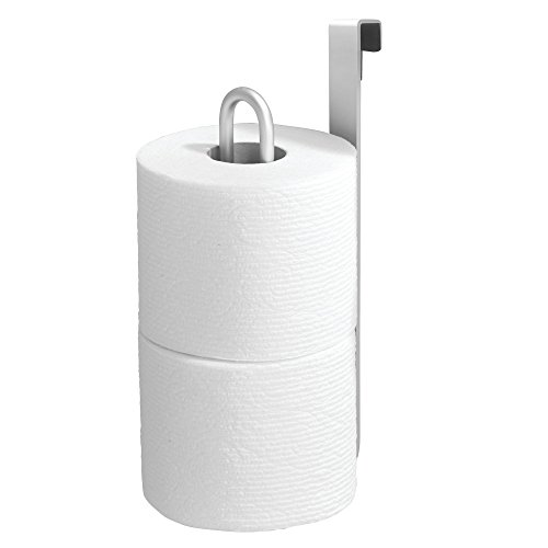 mDesign Aluminum Metal Modern Over-The-Tank Toilet Paper Holder Organizer for Bathroom Extra Organizing Storage, Set of 2, Silver by mDesign (Image #3)