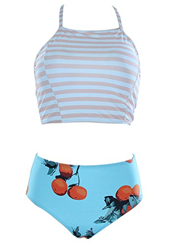 Stripe Tank Swimsuit - Anbech Women Floral High Neck Swimsuit Tank Tops and High Waisted Bottom Bikini (Stripe + Orange, M)