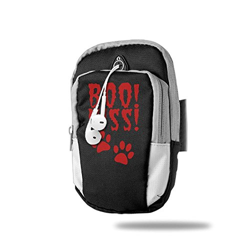 BOO HISS Halloween Costume With Pussy Cat Paws Sports Arm Bag/Arm Bands, Multifunctional Pockets Arm Bag For Cell Phone -Men Women During Running Cycling, Hiking, Camping, Travel, Workout