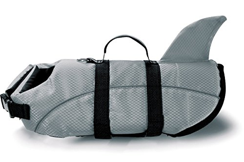 Casakiya Shark Dog Life Jacket Vest Saver Safety Swimsuit Preserver with Reflective Stripes/Adjustable Belt for All Size Dogs ( Color : Gray , Size : XS (Shark Suit For Dogs)