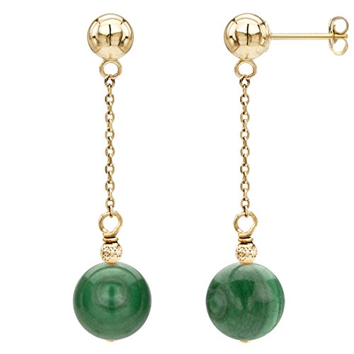 14k Yellow Gold 12mm Simulated Malachite with Sparkling Bead Dangle Stud Earrings 14k Malachite Stud