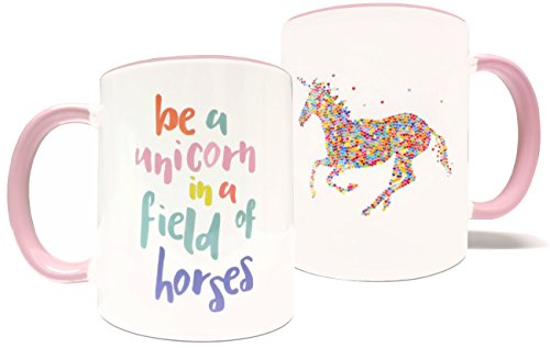 Be A Unicorn In A Field Of Horses - 11oz Grade A Quality Ceramic Two Tone Pink / White Ceramic Mug / Cup - Perfect Funny / Inspirational Gift - Foam Gift Box (Field Mug)
