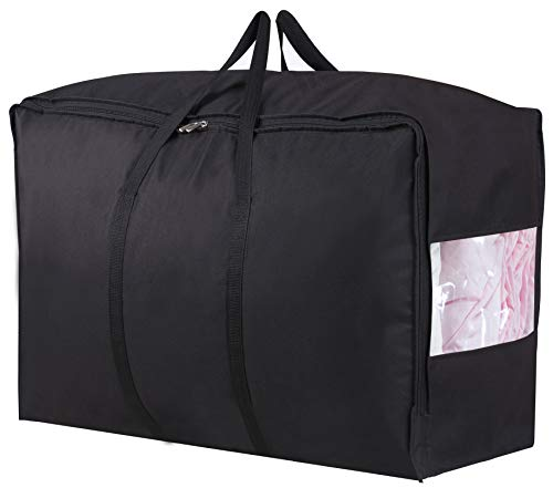 (MISSLO Water Resistant Thick Over Size Storage Bag, Folding Organizer Bag, Under Bed Storage, College Carrying Bag for Bedding Comforters, Blanket, Clothes (Black))