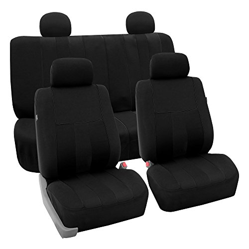 (FH GROUP FH-FB036114 Striking Striped Full Set Car Seat Covers (Airbag & Split Ready) Black Color - Fit Most Car, Truck, Suv, or Van)