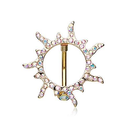Inspiration Dezigns 14G Golden Blazing Sun Reverse Belly Button Ring.