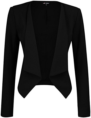 Fitted Blazer Black (Michel Womens Open Front Work Blazer Ruched Sleeve Casual Office Jacket Medium)