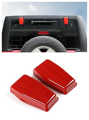 Niceautoitem 3Colors Car Exterior Decoration Liftgate Rear Door Window Glass Hinge Cover Sticker Fit for Jeep Wrangler JK 2007-2017 (Red)