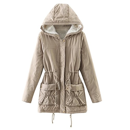 Moses Plush (NEW MOSE Fashion Women Plus Size Warm Plush Faux Fur Hoodies Collar Jacket Slim Winter Parka Outwear Long Coats (XXL, Beige))