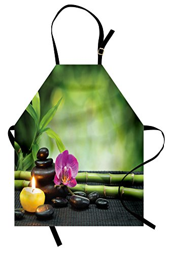 Ambesonne Spa Apron, Orchid Bamboo Stems Chakra Stones Japanese Alternative with Feng Shui Elements, Unisex Kitchen Bib Apron with Adjustable Neck for Cooking Baking Gardening, Apple Green Fuchsia by Ambesonne