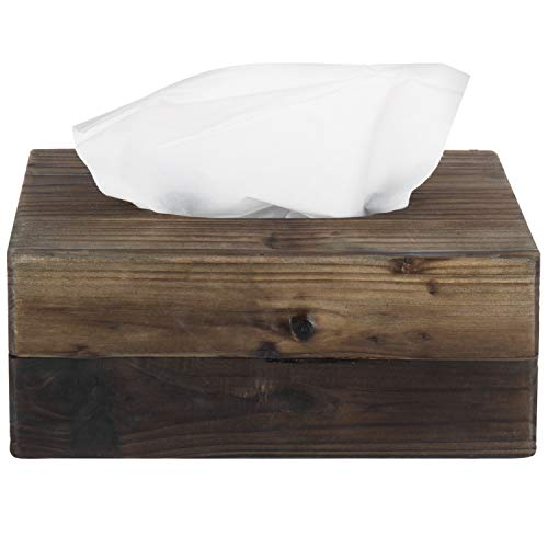 MyGift Rustic Dark Torched Wood Tissue Box Holder