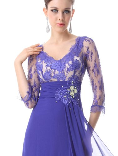 Ever Pretty 3/4 Sleeve Sheer Lace Rhinestone V-neck Evening Gown 09053