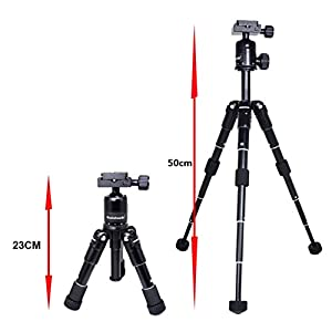 koolehaoda Portable Folding Mini Tripod Compact Desktop Macro Mini Tripod Kit with Ball Head for DSLR Camera Canon Nikon (CK-30 Black)
