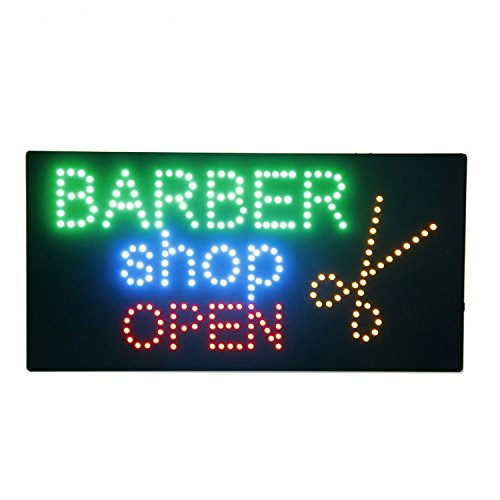 Barber Shop Open Sign Super Bright Flashing Animated LED Open Neon Sign for Business Shop Window Decor with Scissors Electric Advertisement Display Billboard (19 x 10 inches)
