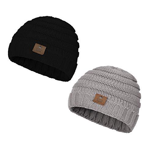 Zando Kid Hats for Girls Knit Beanie Cap for Baby Girls Beanies Boys Hats Gifts for Children Boy Girl 2 Pack Black & Light Grey One Size