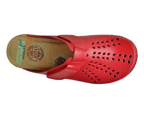 Pantofole Donna Sabot Pu161 Leon Zoccoli Rosso Pelle Scarpe qxptRzYw