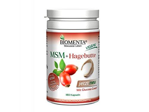 Biomenta® MSM Kapseln mit Hagebutte und Glucosamin | 180 hochdosierte MSM Kapseln: 250mg Methylsulfonylmethan, 250mg Glucosaminsulfat & 50mg Hagebuttenpulver je Kapsel | 3 Monatskur | Made in Germany
