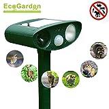 EcoGarden Ultrasonic Animal Repeller, Solar Powered Outdoor Repellent Motion Sensor Activated, Waterproof, Farm Garden Yard Repellent, Deters Pests: Cats, Dogs, Foxes, Skunks, Squirrels, Rodents, Rats