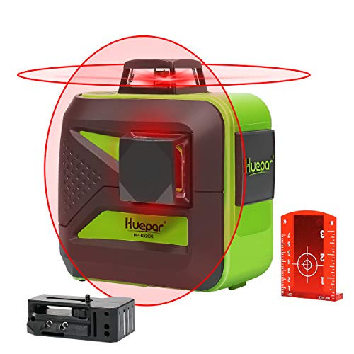 Huepar 360-Degree Red Beam Self-Leveling Laser Level 2x360 Cross Line Laser Dual Plane Leveling and Alignment Line Laser Level -One 360° Horizontal and One 360° Vertical Line 602CR