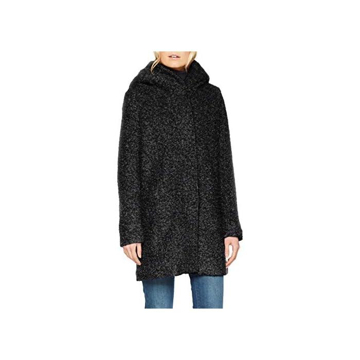 41k%2BOF7Jc3L Boucle - Abrigo de lana Con capucha. 55% Poliéster, 45% Lana