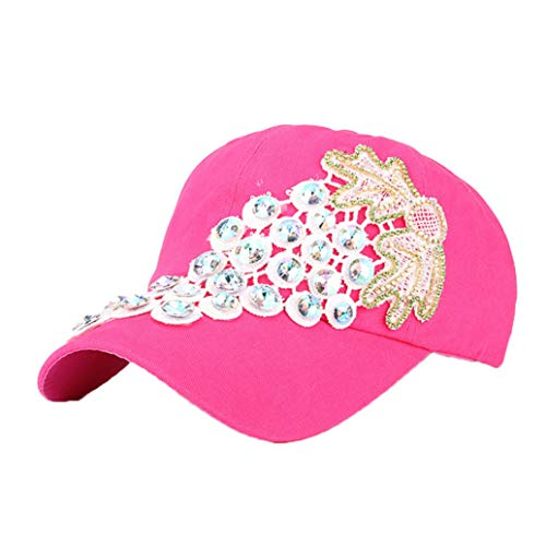 Women Glittered Rhinestone Baseball Caps Fashion Denim Lace Flower Snapback Hats Bling Sparkle Hip Hop Trucker Hat