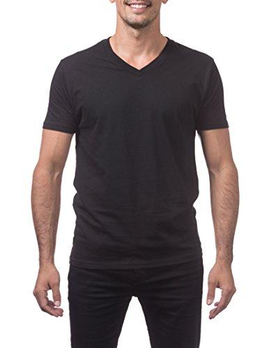 (Pro Club Men's Lightweight Ringspun Cotton Short Sleeve V-Neck T-Shirt, Medium, Black)