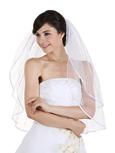 "2T 2 Tier 1/4"" Ribbon Edge Rhinestone Crystal Bridal Wedding Veil - Ivory Elbow Length 30"""