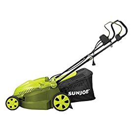 MJ402E Mow Joe 16-Inch 12-Amp Electric Lawn Mower + Mulcher 3 Maintenance free - No gas, oil or tune-ups Best use: small to mid-sized lawns. Cutting Heights include : 3.3, 2.9, 2.5, 2, 1.6, and 1.2 Inches Detachable grass catcher for easy disposal