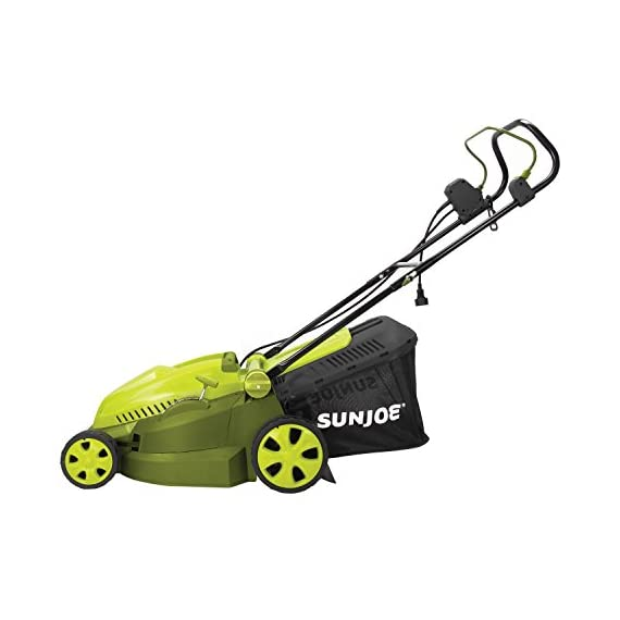 Sun Joe MJ402E Mow Joe 16-Inch 12-Amp Electric Lawn Mower + Mulcher 1 Maintenance free - No gas, oil or tune-ups Best use: small to mid-sized lawns. Cutting Heights include : 3.3, 2.9, 2.5, 2, 1.6, and 1.2 Inches Detachable grass catcher for easy disposal