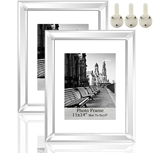 Silver Mirror Photo Frame 11x14 inch Mate to 8x10 inch 2 Piece Pack