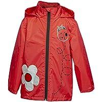 Rainbow Daze Girls Rain Coat Jacket,Lady Bug Flower,Waterproof Rain Coat with Hood (4/5, Red Lady Bug)