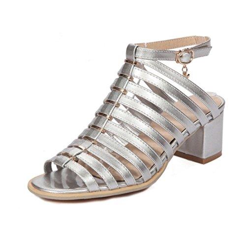 AIKAKA Zapatos de Mujer Primavera y Verano Charol Sandalias cuadradas de Tacón Alto Silver